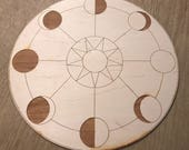 Crystal Grid - Moon Phase Sun - 3, 6, 9 or 12 Inches - Wooden Crystal Grid - Moons
