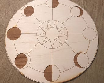 Crystal Grid - Moon Phase Sun - 6 or 12 Inches - Birch Wood - Moons