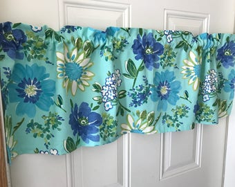 Aqua and Royal blue flower Curtain Valance