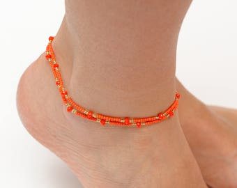 Girlfriend Gift for her Orange Anklet beads anklet Womens Ankle Bracelet Beachy Anklets Delicate Anklet Tiny anklet Holiday gift for sister