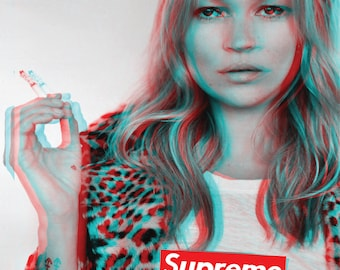 Kate Moss Supreme classic iconic poster A1 Large glossy 3D Effect