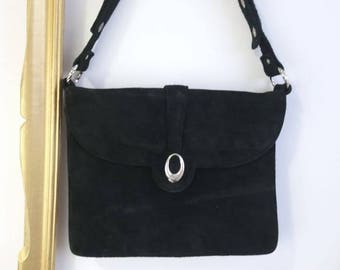 60s black suede handbag