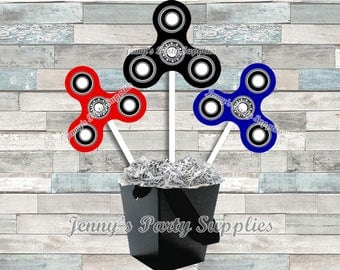 Set of 6 Fidget Hand Spinner Centerpieces, Spinners Table Decor, Spinner Birthday Party Ideas, Hand Spinner Centerpieces