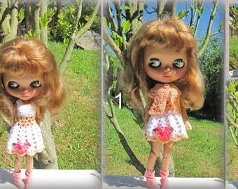Crocheted summer dress for Blythe doll Free shipping