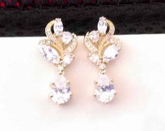 Bridal Earrings, Gold CZ Drop Earrings, Wedding Earrings, Cubic Zirconia, Bridal Earrings, Sparkly Drop Earrings, Hollywood Chic, UK Seller