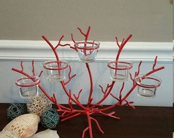 ON SALE Cape Cod, Beach Decor. Coral Wire Votive holder.