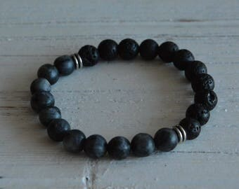 Go ground yourself, 8mm Matte grey Hematite diffuser bracelet with silver spacers