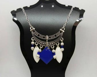 Silver beads, Royal Blue sequins and white bib necklace