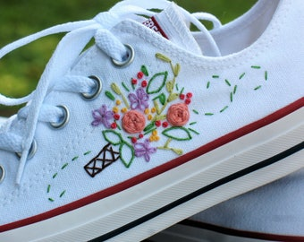 Wedding Converse, Custom converse, wedding shoes, embroidered converse, bridal converse, bridal shoes, floral theme wedding shoes