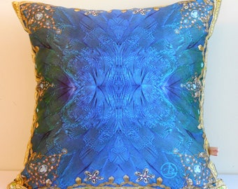BLUE GREEN feathers decorative pillow cover,Gold trimming,blue cushion,jewels,Persian,geometric,eco friendly organic cotton,43cm x 43cm