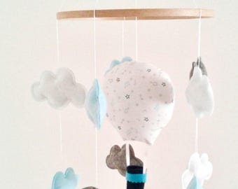 Decoration hot-air balloon and nuage Mobile suspension for nursery decoration, baby room baby shower