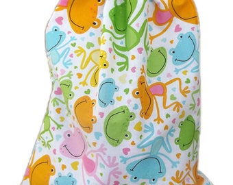 Bag pouch Tote, Pajama bag, toy frogs...