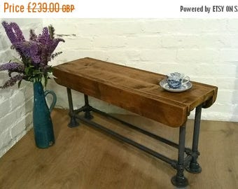 March Sale FREE DELIVERY! 4ft Solid Rustic Reclaimed Wood Galvanised Steel Pipe Industrial Dining Study Bench