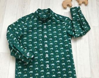 EDWARD Handmade Boys Liberty of London Print Shirt, Grandad Collar, Long Sleeve, Baby Child Teen