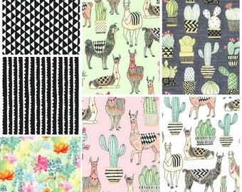 Michael Miller - Lovely Llamas Fat Quarter Bundle - 7 prints