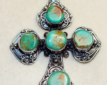 Stunning Turquoise   set in Solid 925 Sterling Silver Pendant