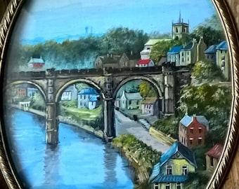 Signed Oval Framed Original Miniature Oil Painting on Copper Knaresborough North Yorkshire England