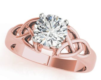 Forever Brilliant Moissanite Irish Celtic Knot Solitaire Engagement Ring in Rose Gold