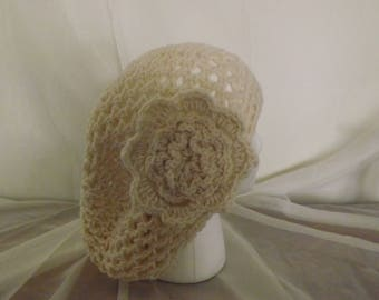 Crochet Beret Style Hat with Flower