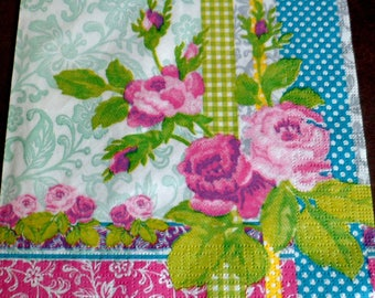 4 paper flowers of spring, ppd paper towel napkins