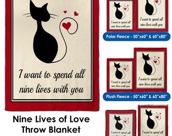 Nine Lives of Love - Throw Blanket