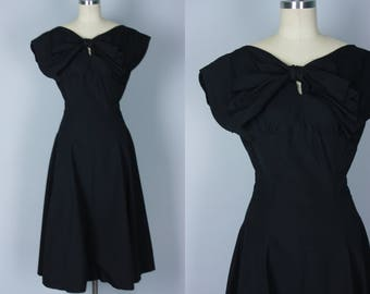 Vintage 1950s Dress | Black Fit-and-Flare Party Dress with Low Back | Large