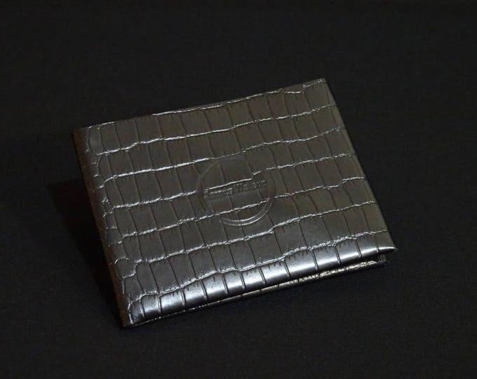 6Pocket Wallet - Black Crocodile - Kangaroo leather with RFID credit card blocking - Handmade - Mens/Womens - James Watson