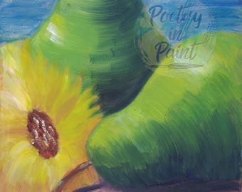 Pear Painting - Sunflower Painting - Floral Oil Painting - Fruit Still Life - Pear Still Life - Flower Still Life - Pear Art - Sunflower Art