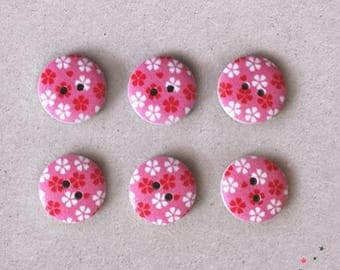 Set of 6 pink flowers 15 mm wooden buttons