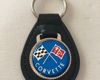 Chevrolet Corvette Keychain Black Leather Chevrolet Key Chain