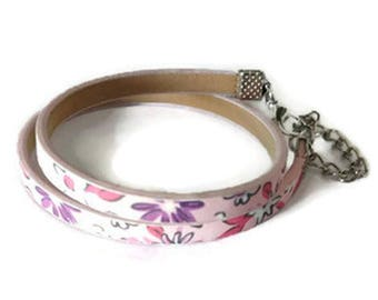 Double leather flower bracelet