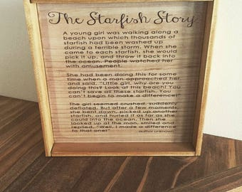 The starfish story, Teacher inspiration, for the home, wood transfer, image transfer, gifts for girls, gifts from the heart
