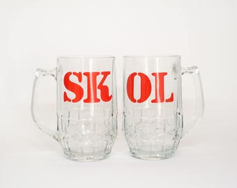 SKOL Beer or Lager Tankards - Glassware - Barware - Drinkware - Vintage