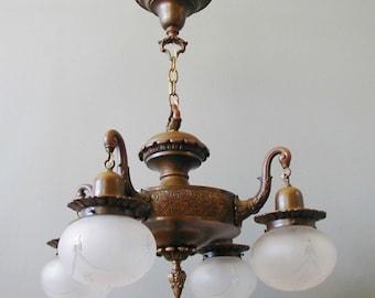 Antique Bronze Victorian Chandelier Ceiling Fixture