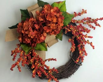 Hydrangea wreath, Fall wreath, Everyday wreath, Rustic wreath, Farmhouse wreath, Summer wreath, Christmas wreath, Spring wreath, Hydrangeas