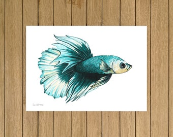 Turquoise Betta Fish, Tropical Fish, Watercolor Illustration, Giclée Print, A3 or A4