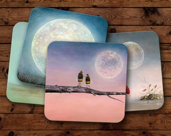 Set of 4 Coasters -  Unique Drinkware - Art Coasters - Christmas Gift Idea - Bumble Bee Art - Nature Kitchenware - Illustration Coaster