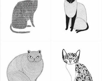 Catnip- Cat Panel (1 Yard Panel)- White- Gingiber- Moda Fabrics