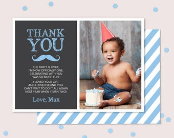 Moustache Boys First Birthday Thank you card (Digital File) // I customise for you to print // Blue mustache chalkboard thank you card