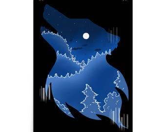 Glitch Wolf Poster