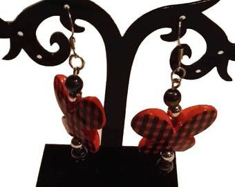 orange and black butterfly earrings