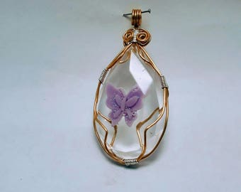 Pendant drop with butterfly