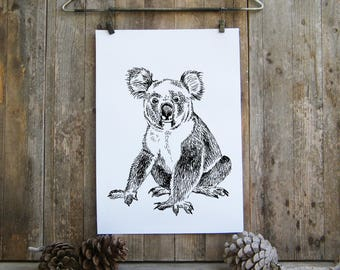 Kids Room Decor, Koala Wall Sign, Black And White Printable, Printable Koala Poster, Nursery Decor, Teen Room Decor, Wild Animals Print