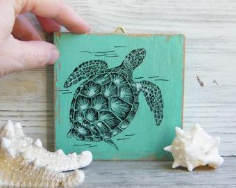 Sea turtle print, Nautical art, Miniature picture, Sea life print, Kids room decor, Wood sign, Nursery decor, Print on wood, Gift under 15