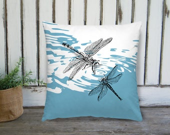 Dragonflies Pillow, Blue Square Pillow, Natural Bedroom Decor, Throw Pillow, Nature Art Pillow, Square Cushion, Bedroom Decor, Mothers Day