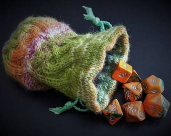 """Hand Knitted Drawstring Dice Bag Coin Pouch with Matching Dice - """"Shillelagh"""""""