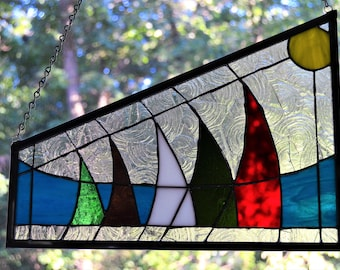 Stained glass panel of sailboats with sun and waves 14 x 5 x 10