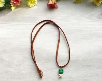 Azurite Bone Necklace >> Real Animal Vertebrae & Natural Azurite Malachite Stone on Brown Leather Lace >> Bohemian Taxidermy Jewelry Nevada