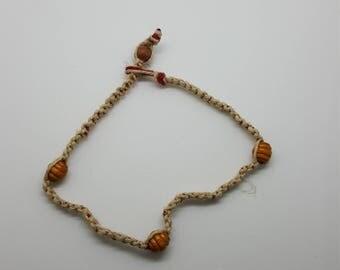 Beaded hemp anklet, bracelet  (HAN005)