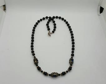 Onyx bead and black crystal necklace (NK022)